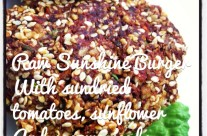 Raw Sunshine Burger with Sundried Tomato & Sesame Seeds