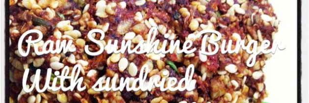 Raw Sunshine Burger with Sundried Tomato & Sesame Seeds